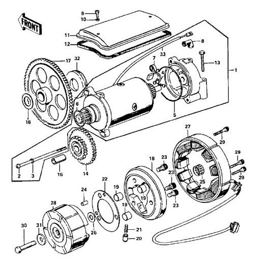 generator starter motor kawasaki z kz see parts list below